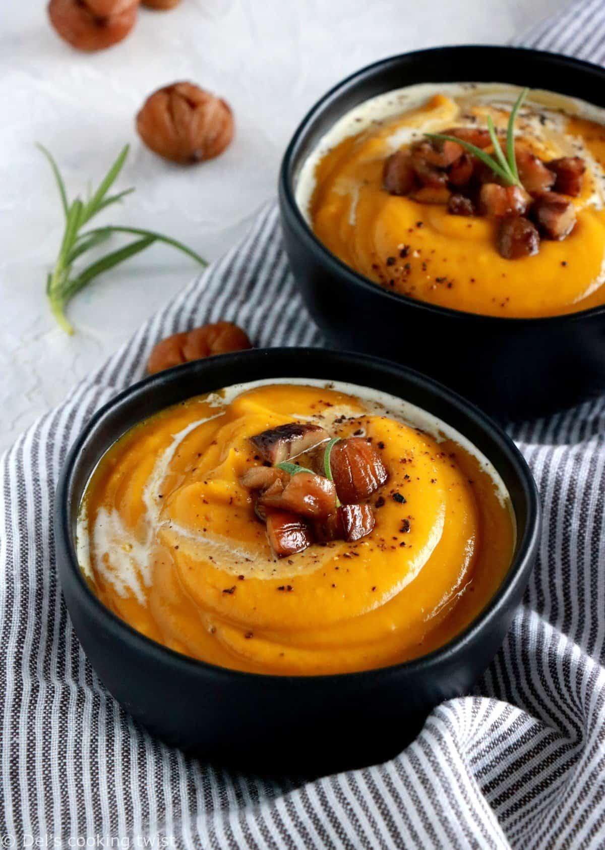 Pumpkin chestnut and red lentil soup