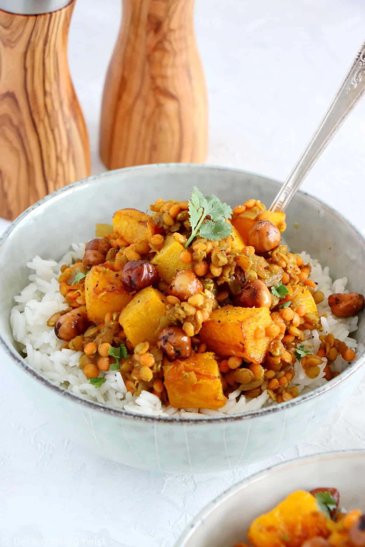 Red Lentil Dahl with Roasted Pumpkin and Hazelnut