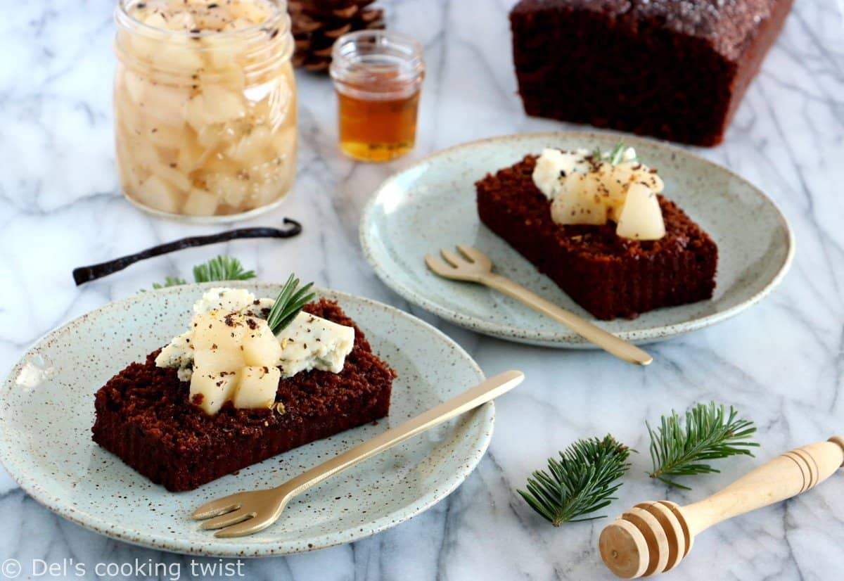 Gorgonzola-Pear Gingerbread Toasts