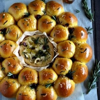 Rosemary Sweet Potato Bread Wreath with Baked Camembert
