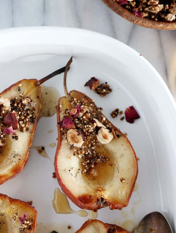 Cardamom-Infused Pears with Quinoa-Nut Crunch