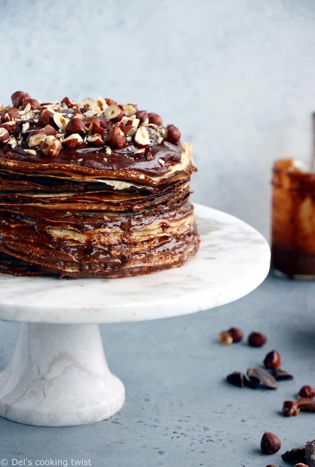 Gâteau de crêpes au praliné et chocolat