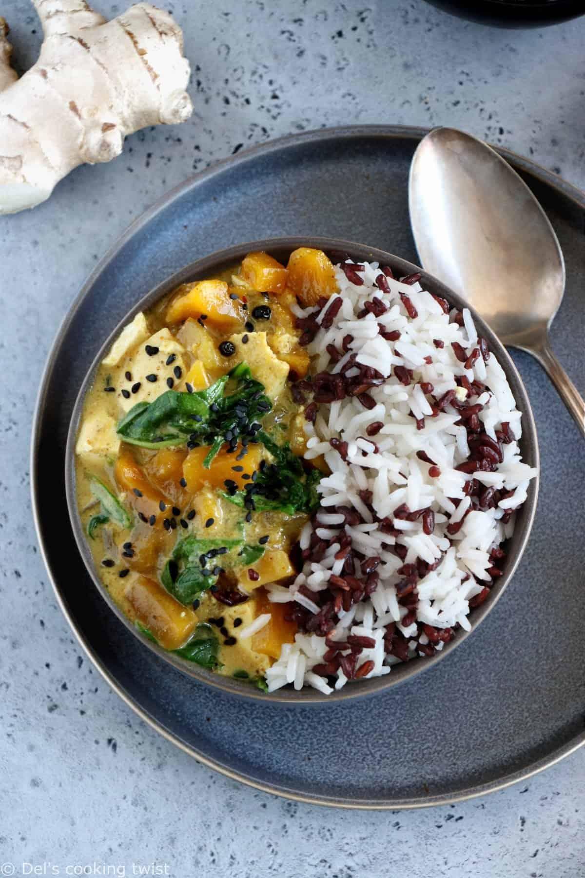 Mango Chutney Tofu Curry with Wild Rice (vegan, gluten-free)