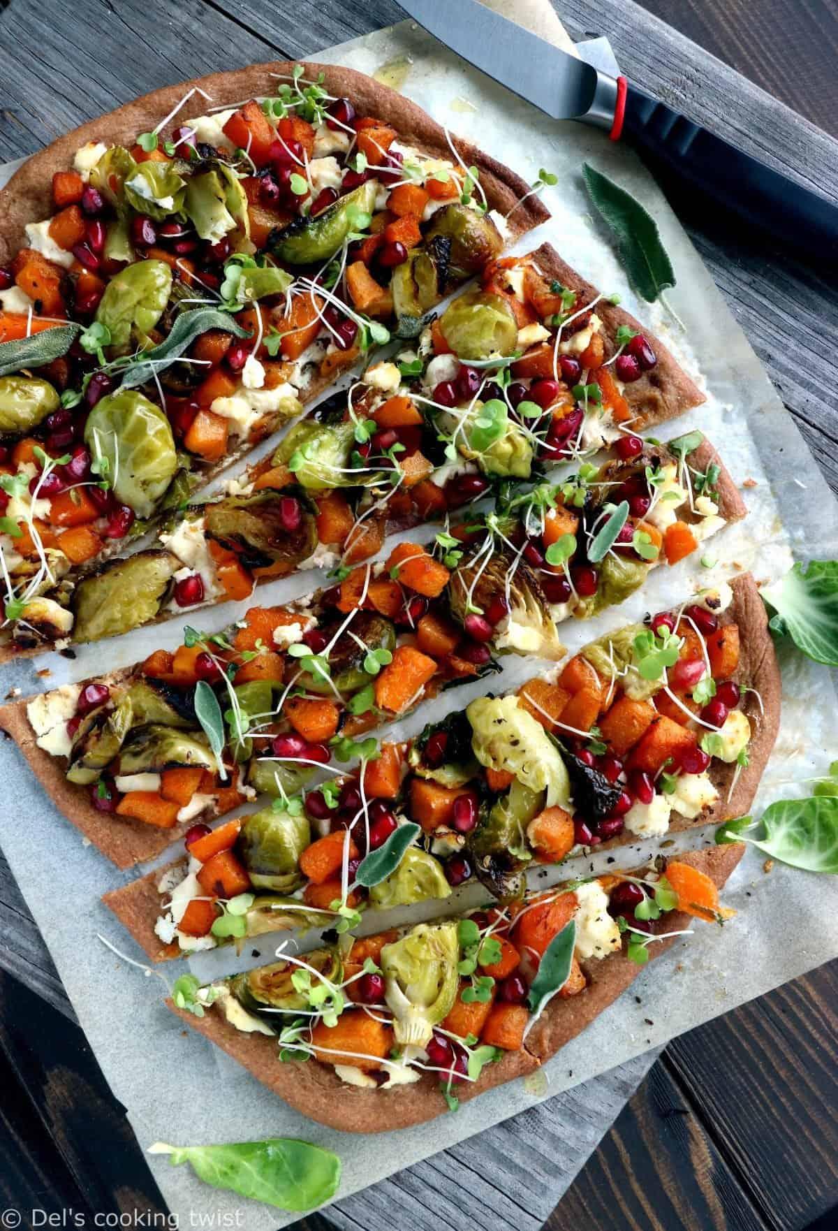 Pizza complète à la courge butternut et aux choux de Bruxelles