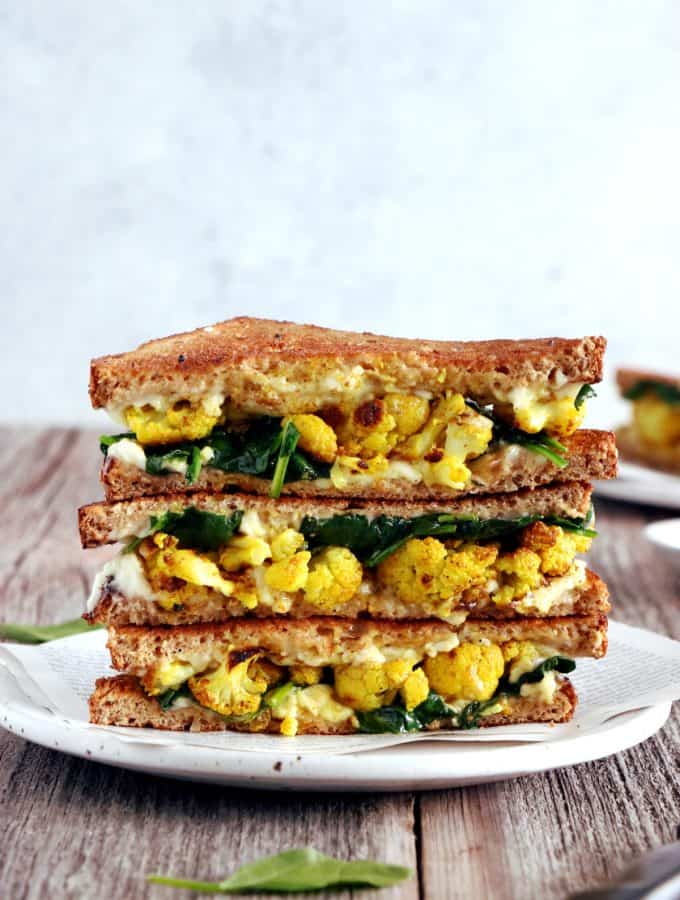 Curried Cauliflower Grilled-Cheese Sandwich