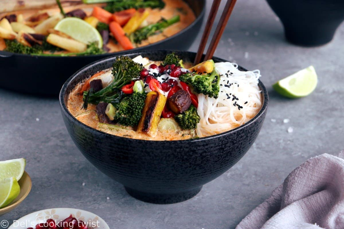 Vegan Thai Red Curry Noodle Soup