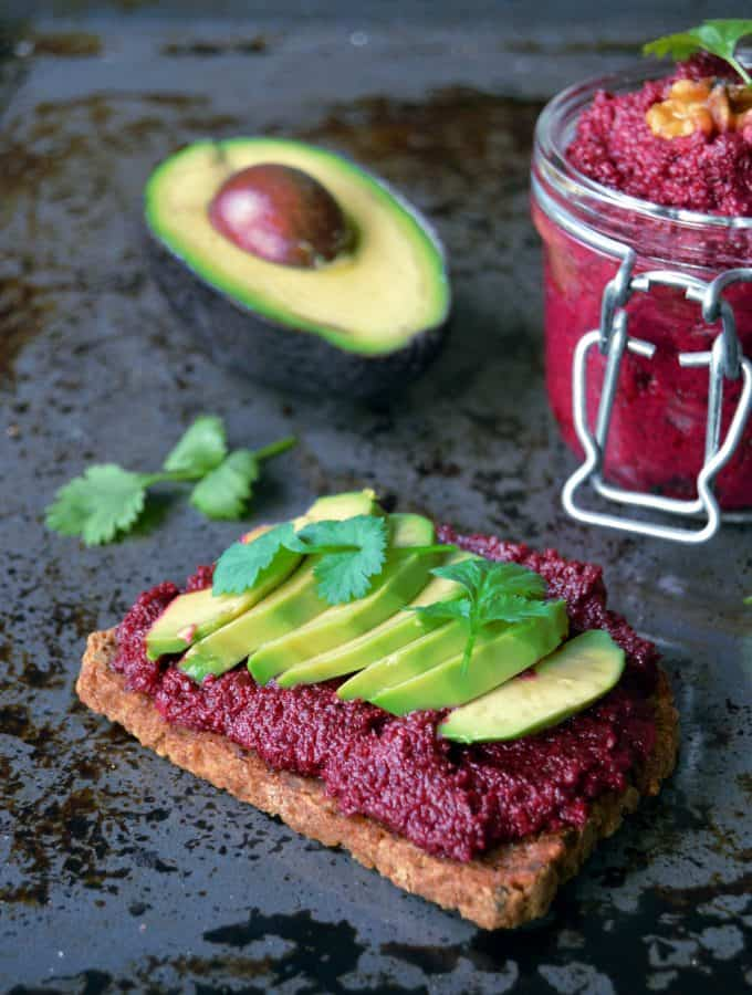 Vegan Avocado Toast with Beet Hummus