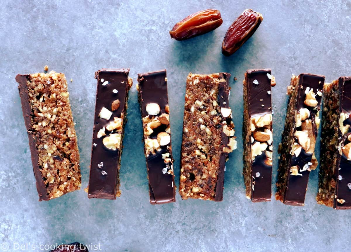 Chocolate Covered Nut Date Bars