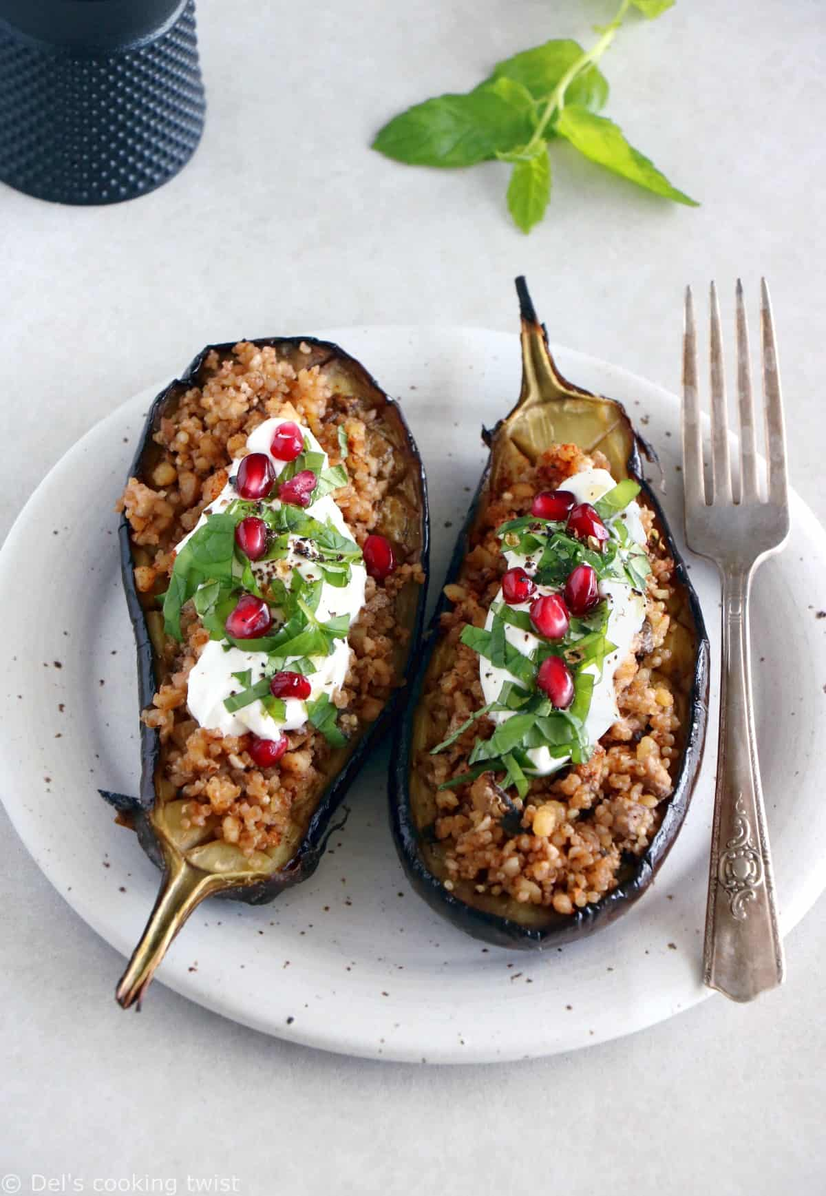 Quinoa Stuffed Eggplant with Mint Yogurt Sauce