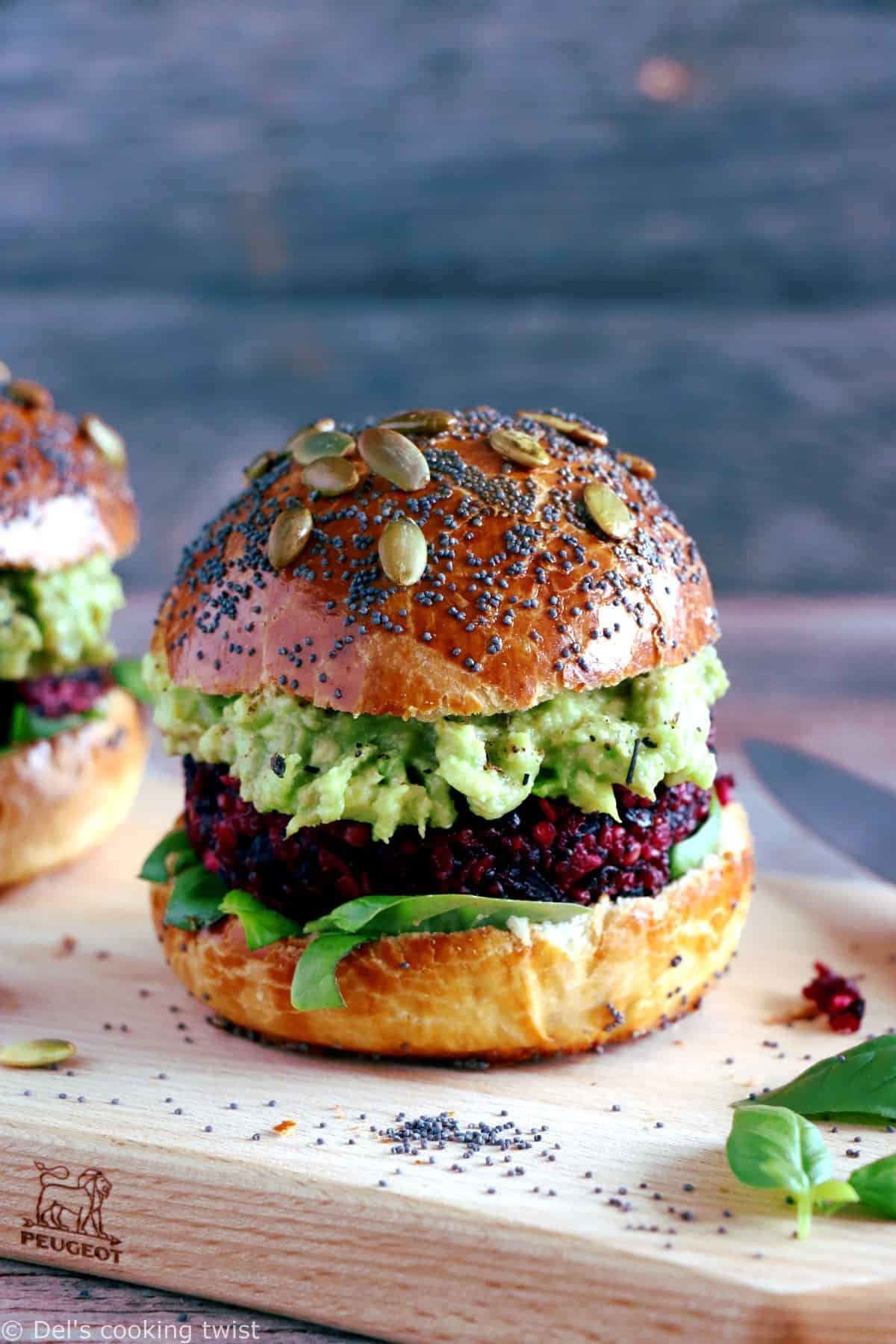 Vegetarian Beet Quinoa Burger. Vegetarian Beet Quinoa Burger. Scrumptious vegetarian beet quinoa burger with feta cheese, avocado dip and delicious homemade brioche burger buns. Simply the best!