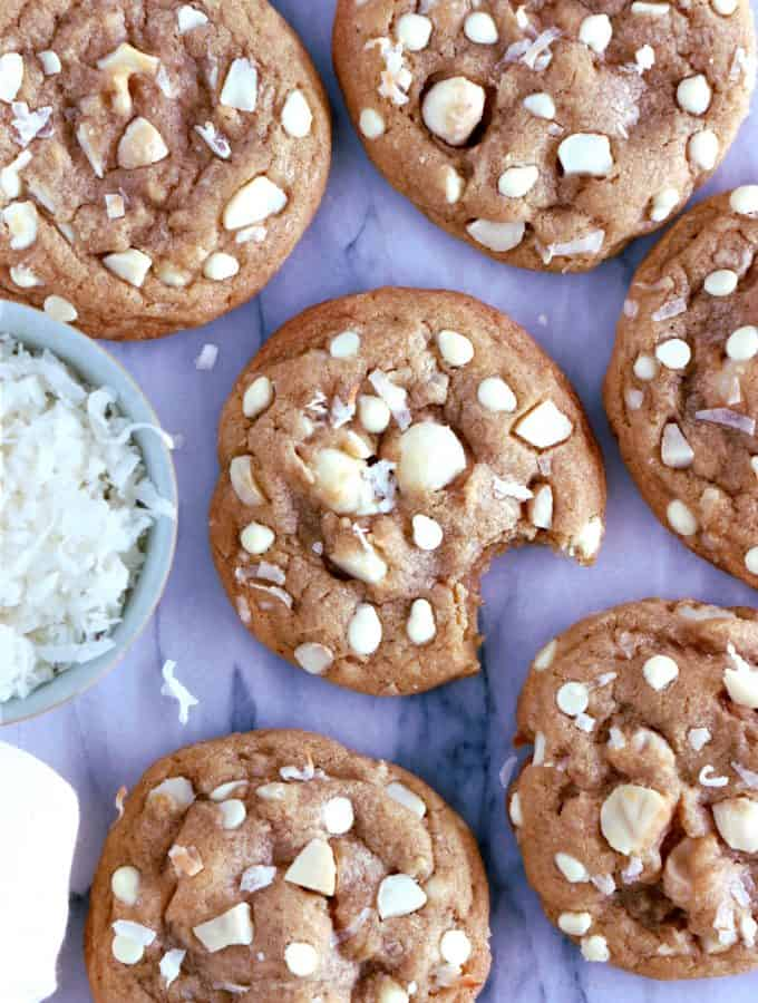 White Chocolate Coconut Macadamia Nut Cookies. The ultimate white chocolate coconut macadamia nut cookies are chewy, nutty, buttery, with golden crisp edges and soft centers. Believe me, they are a crowd pleaser!
