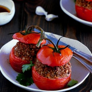 "Healthy Vegan Chickpea Stuffed Tomatoes. Healthy vegan chickpea stuffed tomatoes make a delicious hearty summer dish, bursting with juicy tomatoes and packed with nutritious ingredients. A beautiful twist to the traditional French dish ""tomates farcies""."