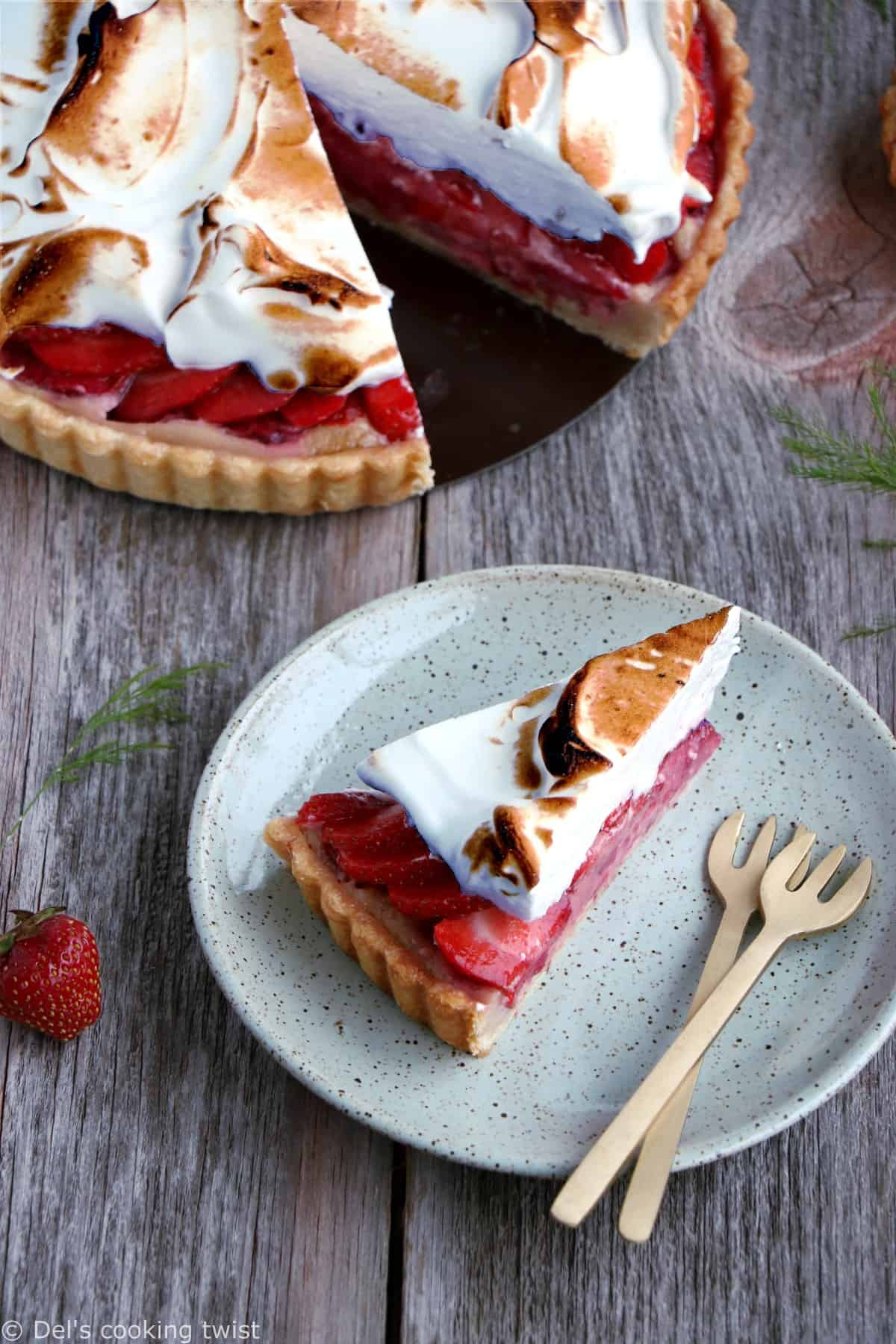 Meringue Strawberry Rhubarb Pie. Beautiful Strawberry Rhubarb Meringue Pie filled with a subtle almond cream is a perfect summer dessert with a great balance of sweetness and tartness. Simply delicious!