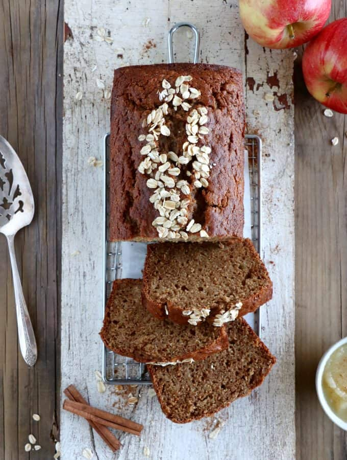 Healthy whole wheat apple bread is a low fat recipe prepared with whole wheat flour, shredded apples and is lightly sweetened with applesauce. This simple apple bread recipe is a winner.