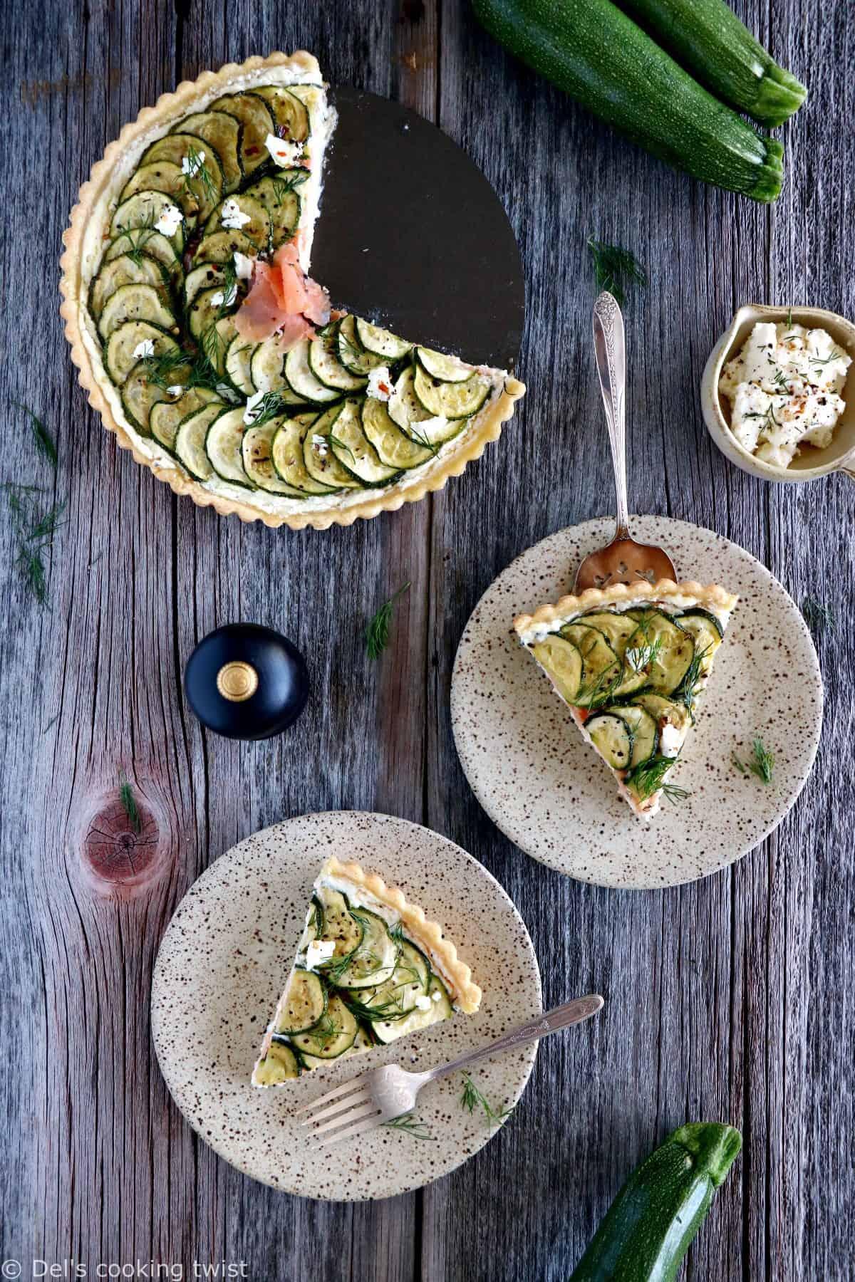 Une délicieuse tarte à la ricotta au saumon et aux courgettes aux saveurs fraîches et estivales. À savourer tiède ou froide, en entrée ou en plat principal.