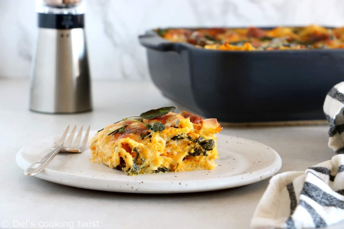 This creamy butternut squash lasagna is a cozy and comforting vegetarian pasta recipe to share with friends or family.