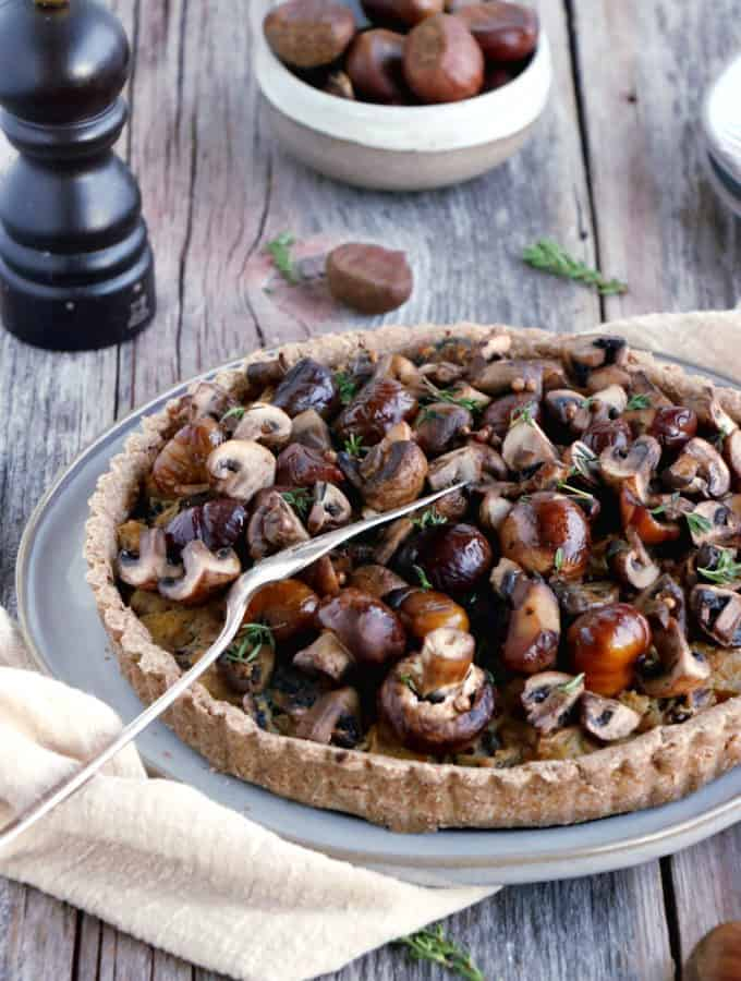 Chestnut, leek and mushroom tart with coriander seeds is prepared with my favorite whole wheat pie crust.