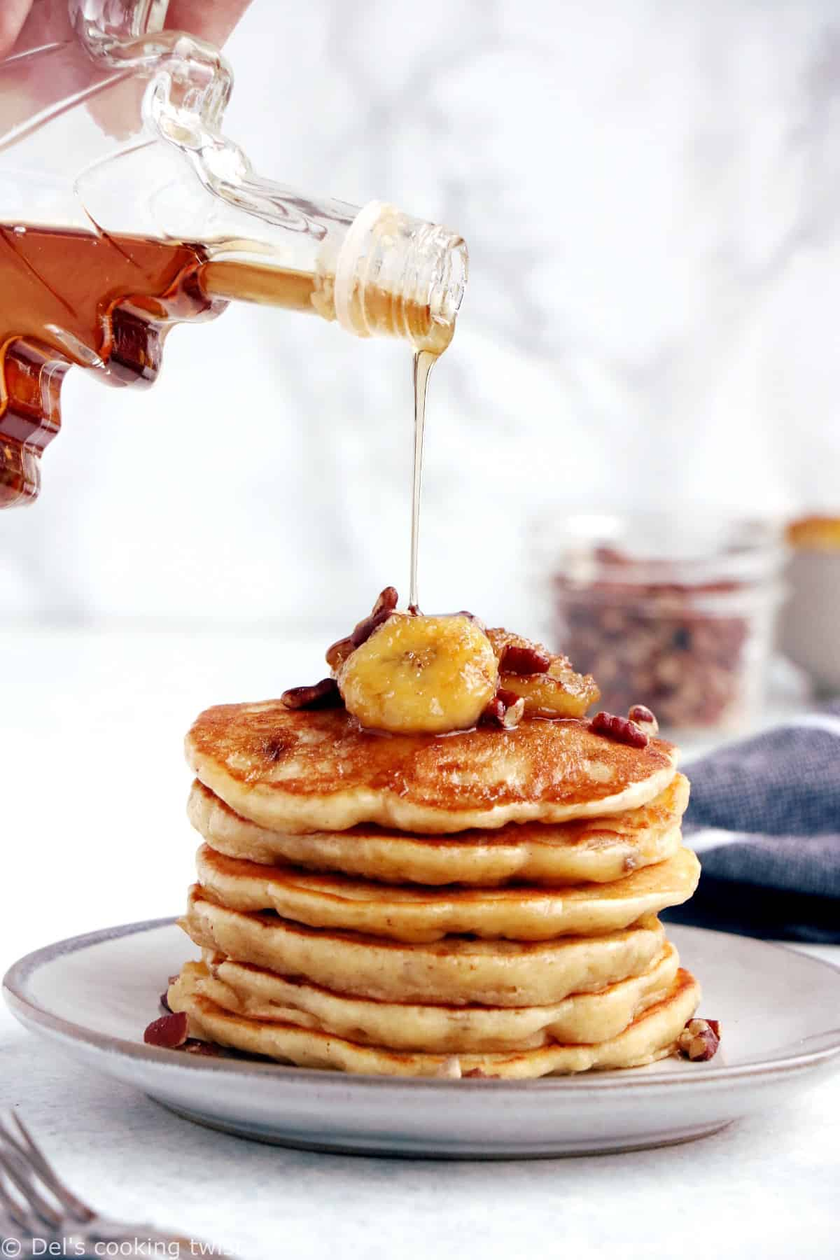 This easy fluffy banana pancake recipe yields generous, light, and airy pancakes, loaded with banana bread flavor.