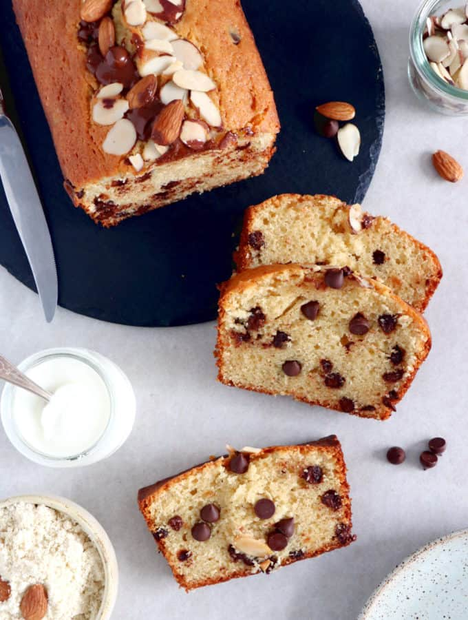 This simple chocolate chip almond yogurt cake makes a wonderful coffee cake for every occasion.