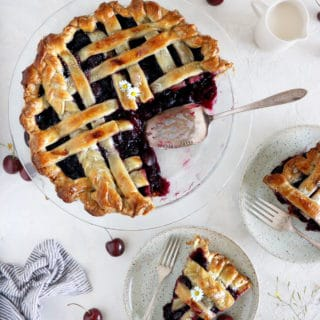 Say hello to the best homemade cherry pie, baked from scratch with an easy butter pie crust.