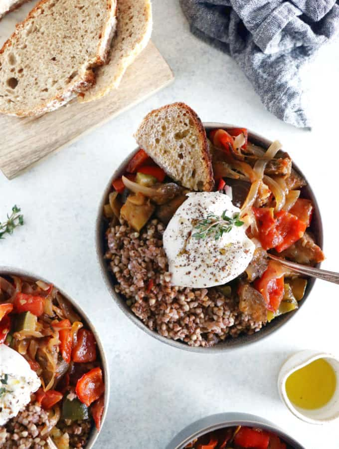 This French ratatouille bowl with buckwheat and burrata cheese makes a wholesome and satisfying meal.