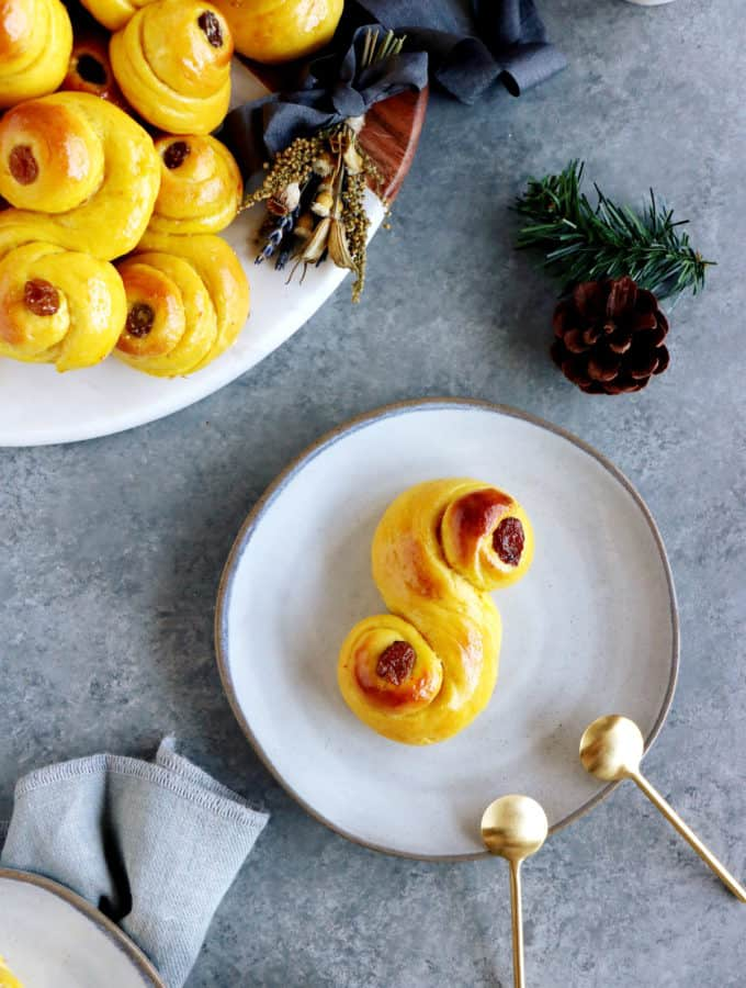 "Swedish Saffron Buns ""Lussekatter"" (or St Lucia Buns) are an S-shape sweet bun flavored with saffron."