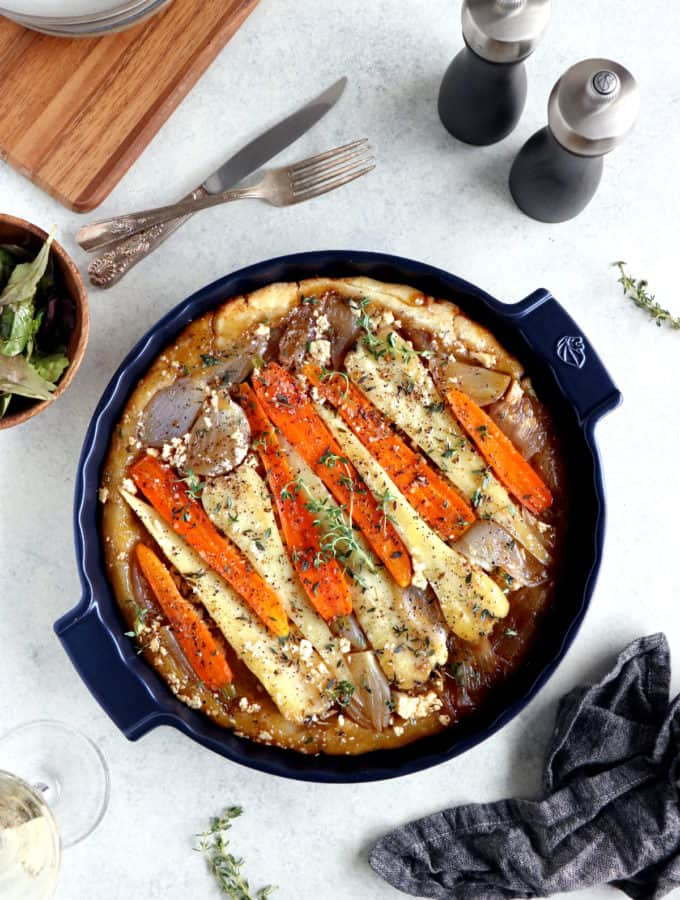 This caramelized root vegetable tarte tatin with feta is a great way to use up your winter vegetables in an audacious recipe.