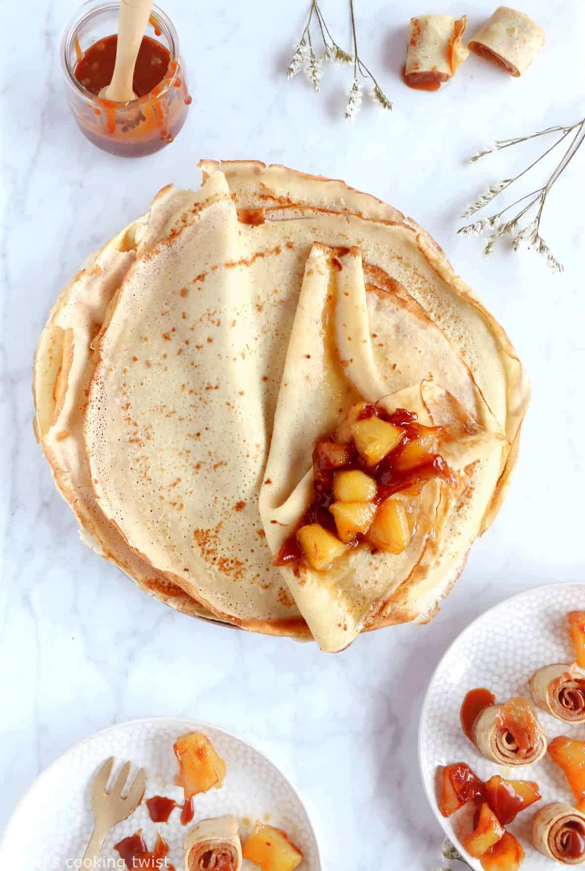 These salted caramel apple crepe rolls make for an elegant and fancy dessert yet are rather simple to make.