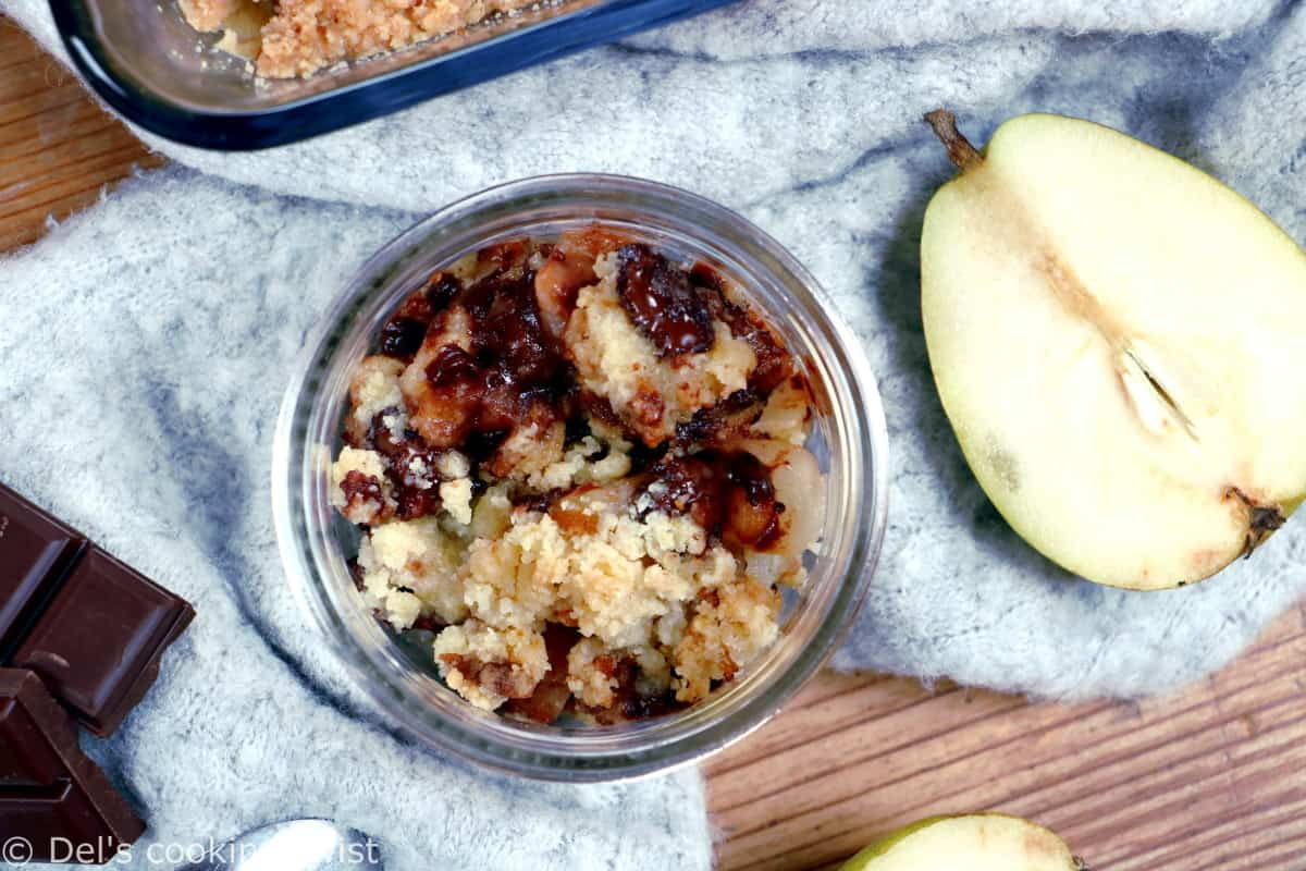 This quick pear and chocolate crumble counts among my all-time favorite desserts. With just a handful of basic ingredients, the recipe comes together beautifully every single time.