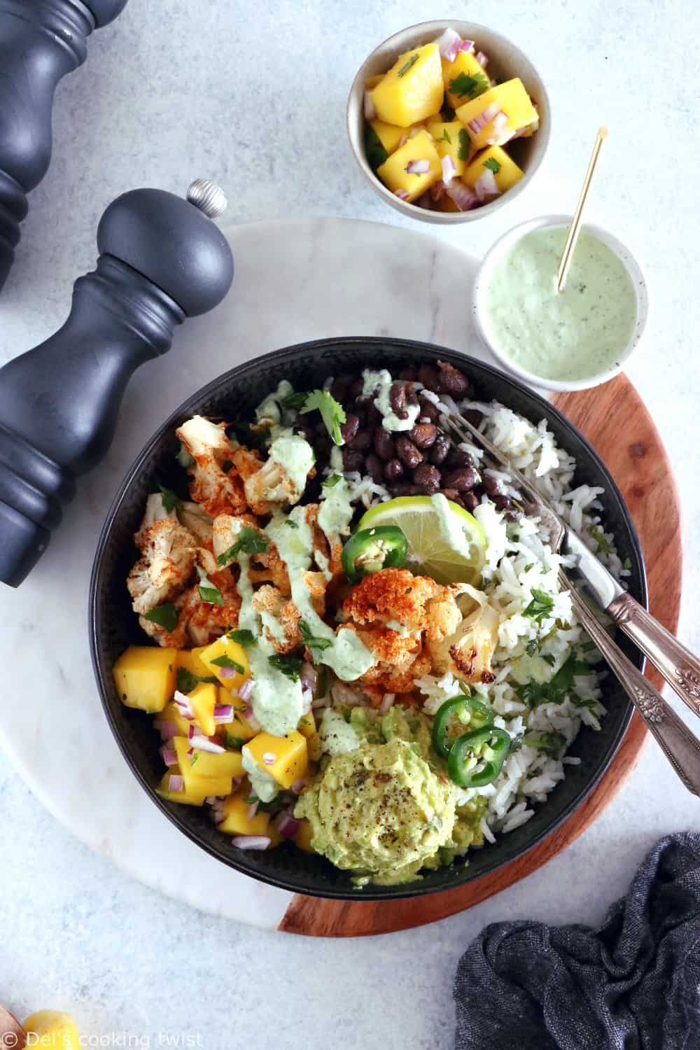Healthy, colorful, and satisfying, this vegetarian cauliflower burrito bowl will brighten up your lunch game.