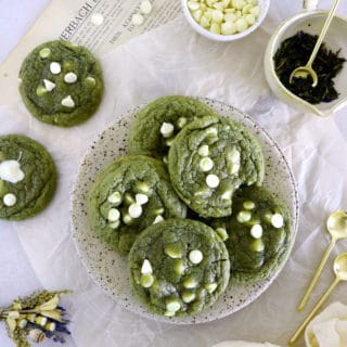 These white chocolate chip matcha cookies are packed with earthy flavors, with just the right amount of sweetness.