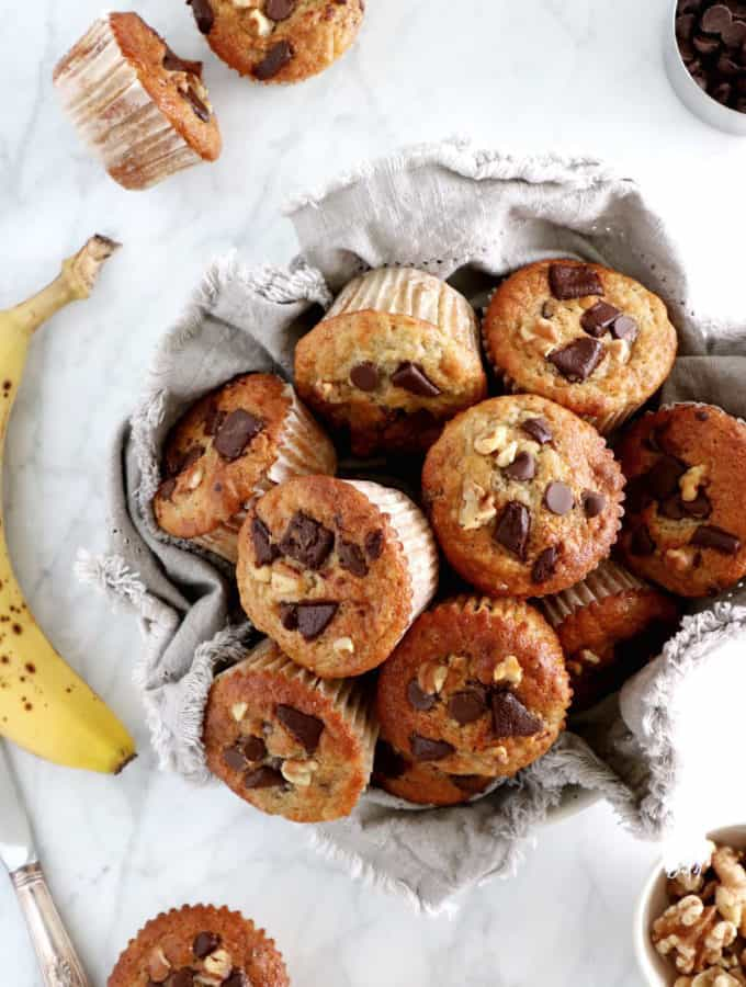 Moist and fluffy in texture, they are packed with delicious banana flavors and loaded with chocolate chips.