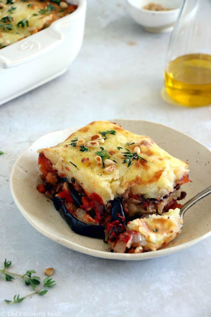 This vegetarian moussaka has some deep smoky flavors, with layers of eggplants, potatoes, spiced vegetarian meat, and a creamy bechamel sauce.
